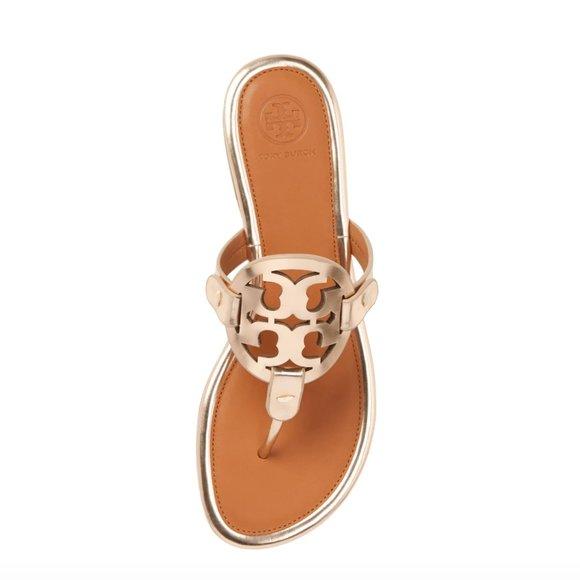 Tory Burch    Miller Flip Flops in Rose Gold / Tan